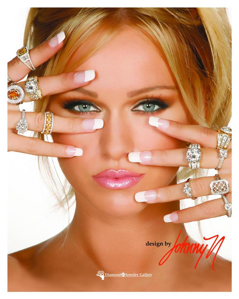 2014, Diamond and Jewelry Gallery, multiple finger rings, model, approved
