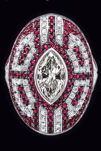 2015, Diamond and Jewelry Gallery, pic, ruby ring with center marquis diamond, shield